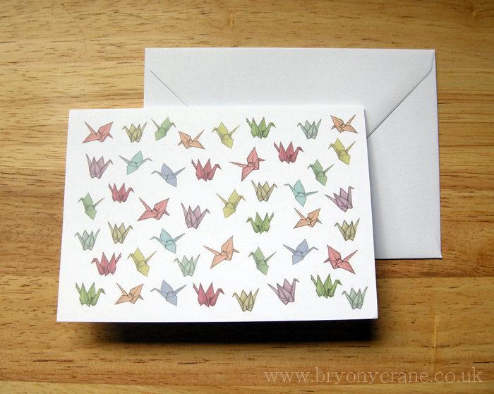Origami cranes greetings card bryony crane illustration m4hsunfo
