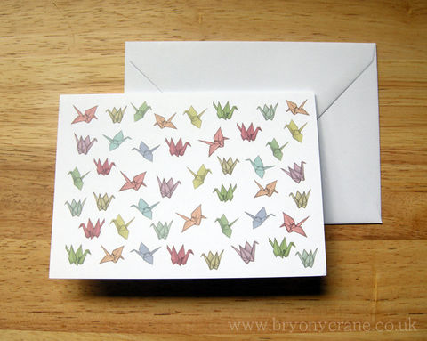 Origami,Cranes,Greetings,Card,Art,Illustration,greetings_card,birthday_card,thank_you_card,illustrated_cards,cards,illustration,uk,stationery,bird_card,origami_crane,origami_crane_card,origami_card,origami,card,white_envelope,300gsm_card_stock