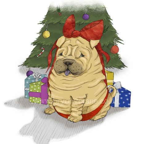Christmas,Card,Series,-,Shar,Pei,Puppy,Single,Cards,and,Sets,of,4,or,8,Paper Goods, Cards, Christmas, puppy, dog, dog cards, christmas card, shar pei, shar-pei, puppy cards, illustrated cards, illustration, dog illustration, puppy illustration, greetings cards, holiday card, xmas, Fedrigoni card, shar pei christmas card, sha
