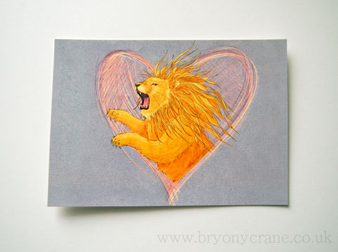 Lionheart,Postcard,Print,Art,Illustration,illustrated_cards,cards,illustration,stationery,postcard,illustrated_postcard,lion,lionheart,lion illustration,heart,card,350gsm_paper_stock