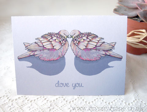 'Dove,you',Illustrated,Anniversary,or,Valentines,Card,Art,Illustration,greetings_card,birthday_card,thank_you_card,illustrated_cards,illustration,thank you card, valentines, valentines card, valentine day, dove, pigeon, love you,dove love,dove you,stationery,art_card,greeting_card,card,white_envelope,300gsm