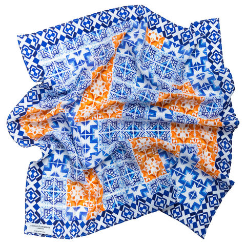 Patchwork,Tile,Square,Silk,Scarf