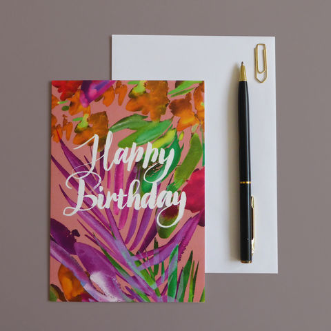 Happy,Birthday,Card,happy birthday, birthday tropical, birthday card, tropical card, blank card, greeting card