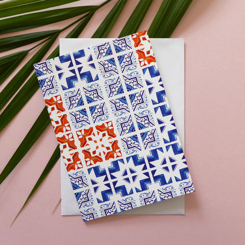 Patchwork,Tile,Greeting,Card,tile design, tile pattern, moroccan tile, portuguese tile, tile, portugal