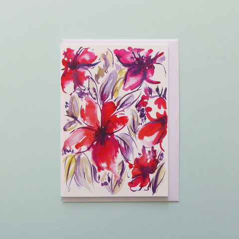 Zoe,Floral,Greeting,Card,floral card, greeting card, flowers, floral painting, blank card, flower design, wedding, bridal, bridesmaid card, wedding card, contemporary card, watercolour, painting