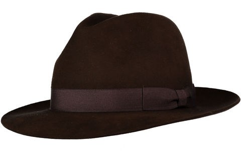 Brown,Andres,Fur,Felt,Trilby, Felt Hat, Brown Hat, Waterproof Hat, Argentine Hats, Argentinian Hats, Suede Hats, Leather Hats, Waterproof Hats, Estribos, Estribos Argentina, Polo Belts, Estribos Polo Belts