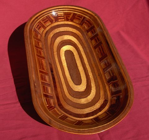 Oval,'Checker',Fruit,Bowl,Fruit Bowl, Salad Bowl, Table decoration, Table ware, wood bowl, sculpture, carving, Plywood Bowl