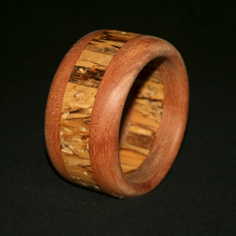Wooden Bangle Segmented with Mahogany & Spalted Birch - product image