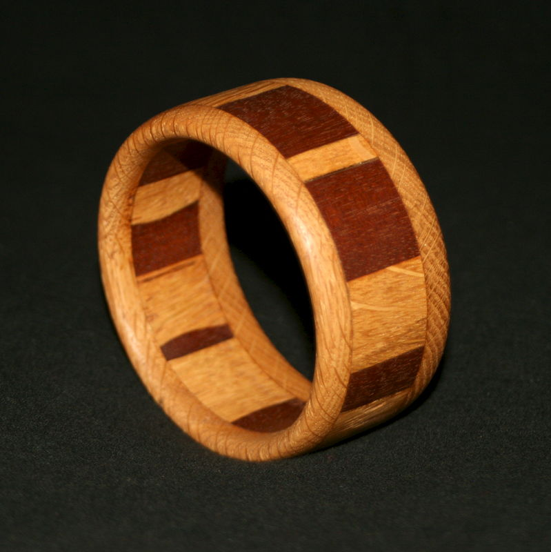 Wooden Bangle Segmented with Mahogany & English Oak - product image