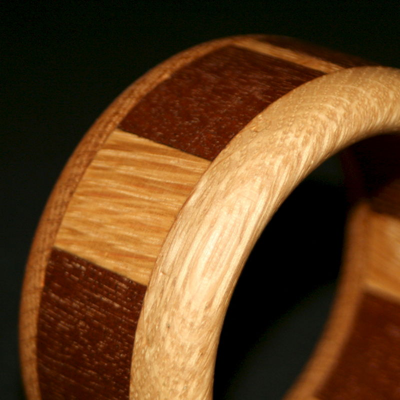 Wooden Bangle Segmented with Mahogany & English Oak (child's/small adult) - product image