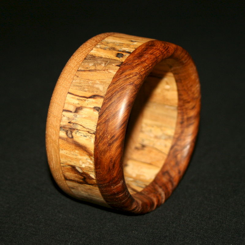 Wooden Bangle Segmented with Oak, Oak Burr & Spalted Birch - product image