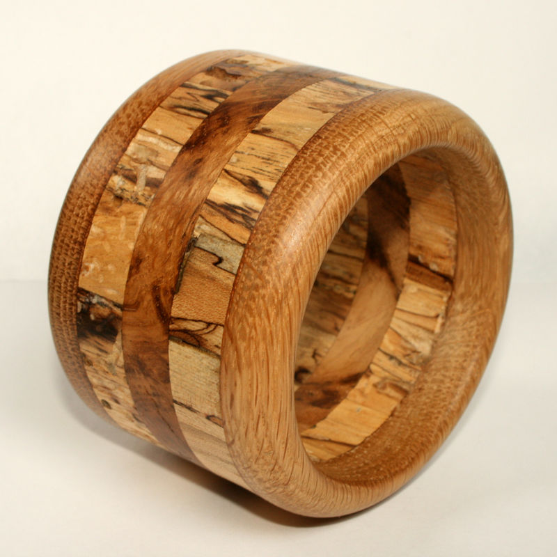 Hardwood Bangle in Oak, Spalted Birch & Oak Burr - product image
