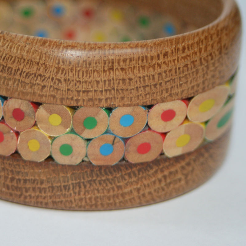 Wood Bangle, English Oak & Coloured Pencils - product image