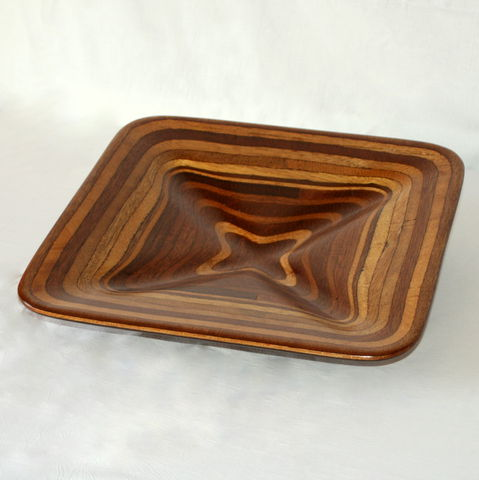 Square,Fluted,Fruit,Bowl, Wood Bowl, Fruit Bowl, Salad Bowl, Baguette Bowl, Carving, Tableware, Sculpture Plywood Bowl, square bowl