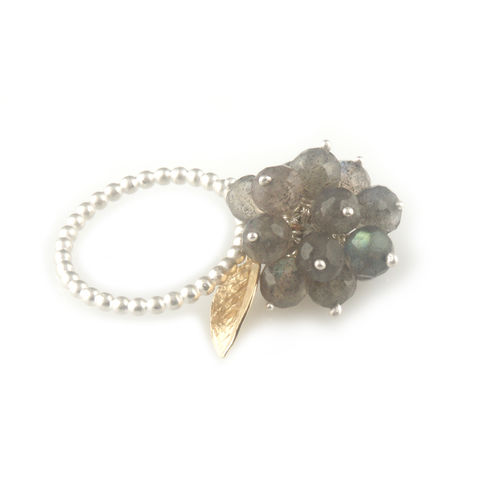 'Wearing,Nature',-,Labradorite,cluster,ring,with,gold,leaf,silver jewellery, contemporary jewellery, ring, pearl, Labradorite cluster ring, handmade jewellery