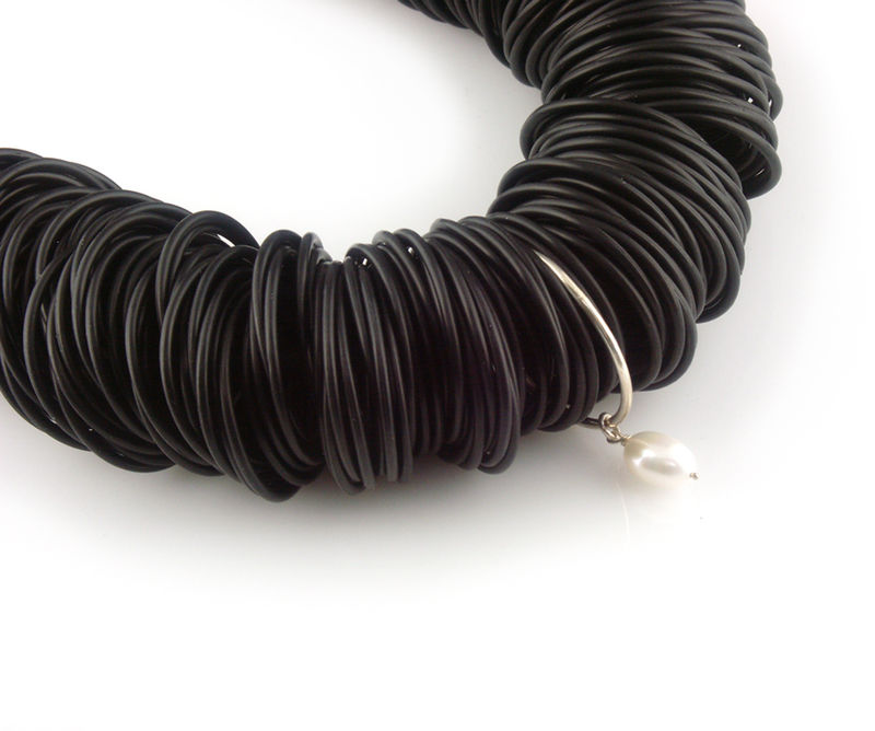 black rubber necklace with silver ring and pearl day c