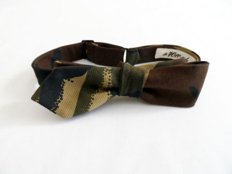 The,Hill-side,Hungarian,Camouflage,Print,Bow,Tie,-,Olive,Brown,bow tie, camo, abstract, the Hill-side, hillside, hickorees, tie, made in america, made in the usa, USA