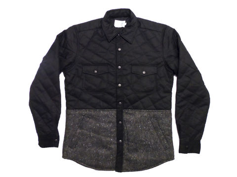 Shades,of,Grey,Quilted,Shirt,Jacket,-,Black,waxed,twill,&,speckled,tweed,shades of grey, by micah cohen, shades of grey quilted shirt jacket, black twill, outerwear, waxed, tweed, overshirt, coat, jacket