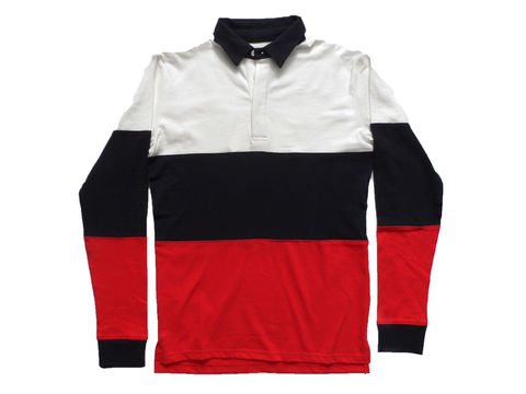 Shades,of,Grey,Colorblock,Rugby,Shirt,-,White,Navy,Red,Shades of grey, micah cohen, rugby shirt, colorblocking, shirting, slim, vintage polo, long sleeve