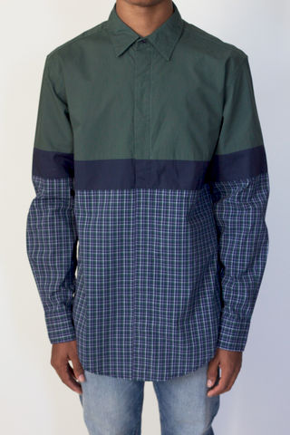 Shades,of,Grey,L/S,Colorblock,Plaid,colorblock shirt, shades of grey, micah cohen, long sleeve, green, plaid, l/s, shirt