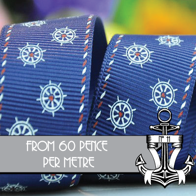 "ANCHOR & POLKA DOTS RIBBON: 25mm/1"" wide - product images  of"