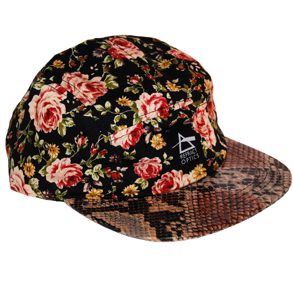 70% OFF Ltd Ed. Refract Optics 5 Panel Cap - Snake & Roses Black - product image