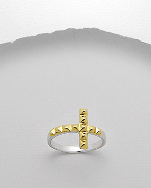 Sterling,Silver,Vermeil,Studded,Cross,Ring,Sterling Silver Vermeil Studded Cross Ring