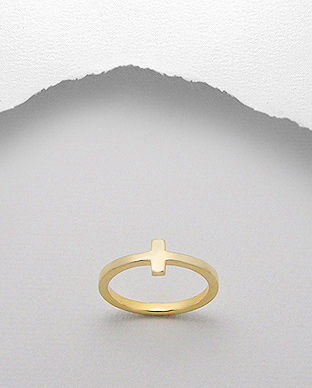 Sterling,Silver,Vermeil,Cross,Ring,Sterling Silver Vermeil Cross Ring