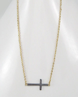 Sterling Silver Two Tone Cross Necklace - product image