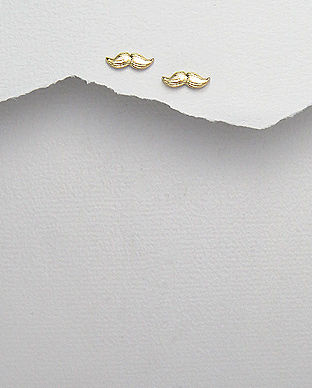 Sterling Silver Moustache Stud Earrings - product images  of