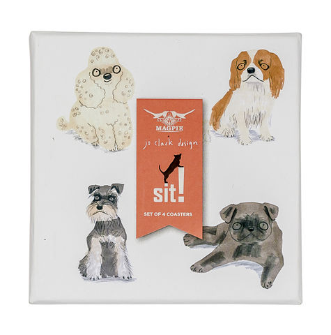 Sit!,Set,of,4,Coasters,by,Magpie,Sit! Set of 4 Coasters by Magpie