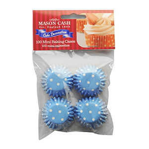 50%,OFF,Blue,Polka,Dot,Mini,Cupcake,Cases,X,100,by,Mason,Cash,Blue Polka Dot Mini Cupcake Cases X 100 by Mason Cash