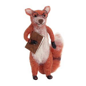 Learned,Fox,Felt,Decoration,Learned Fox Felt Decoration