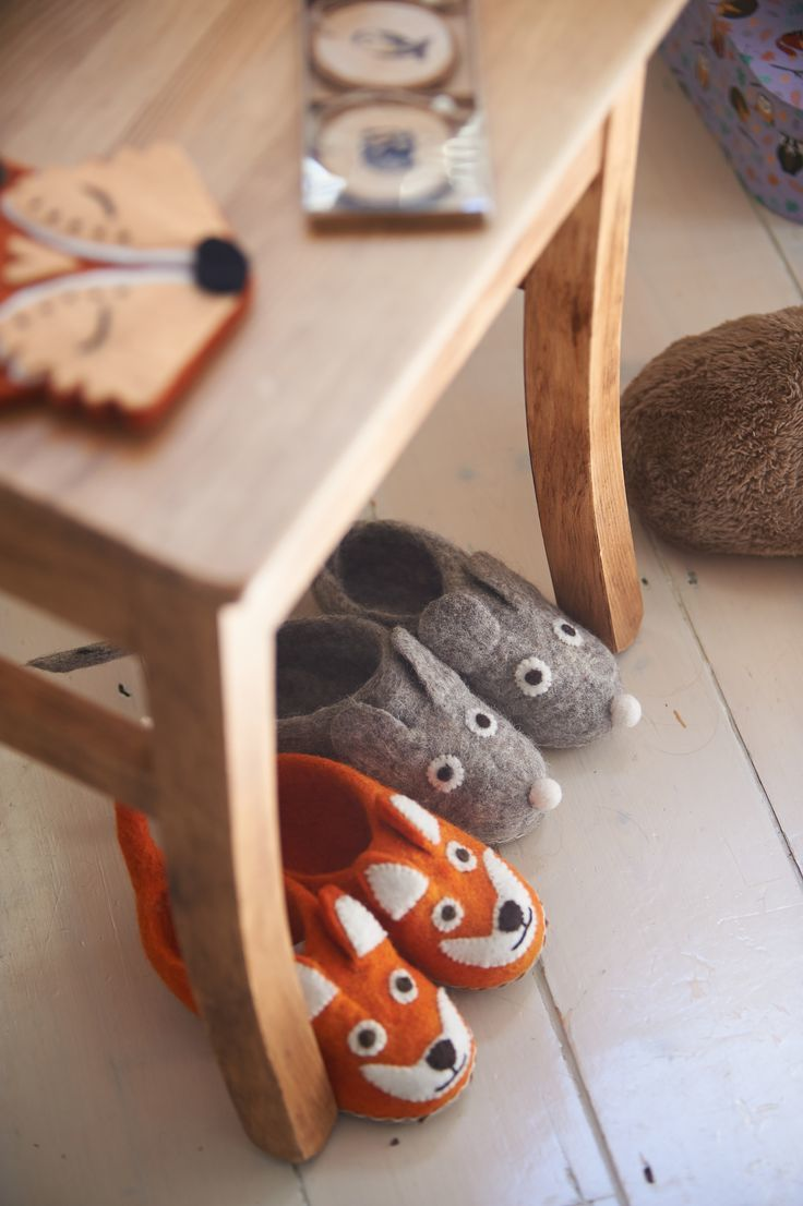 Childs Felt Fox Slippers - ONE SIZE ONLY - product images  of
