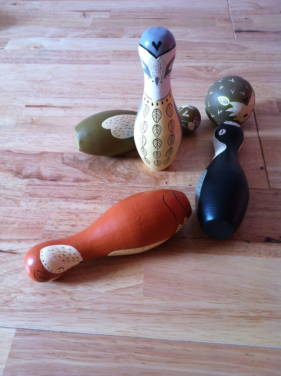 Set of 4 Woodland Bowling Pins with Ball - product images  of