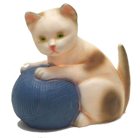 Cat,with,Blue,Wool,Ball,Lamp,by,Heico,Cat with Blue Wool Ball Lamp by Heico