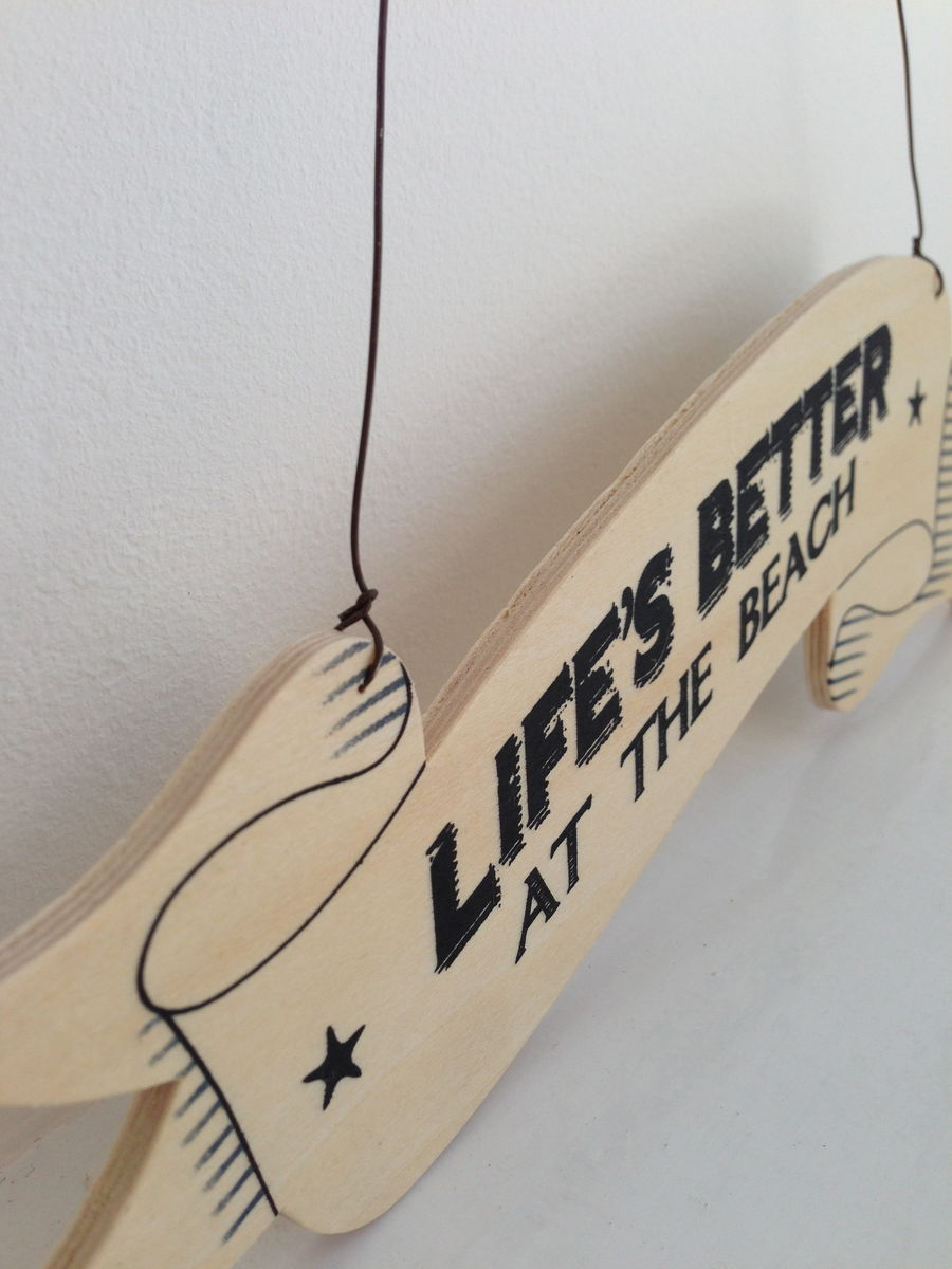 Lifes Better at the Beach Plywood Ribbon Sign by East of India - product images  of
