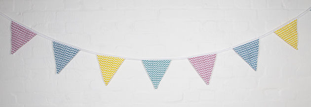 Pastel Chevron Print Bunting by Sass and Belle - product images  of