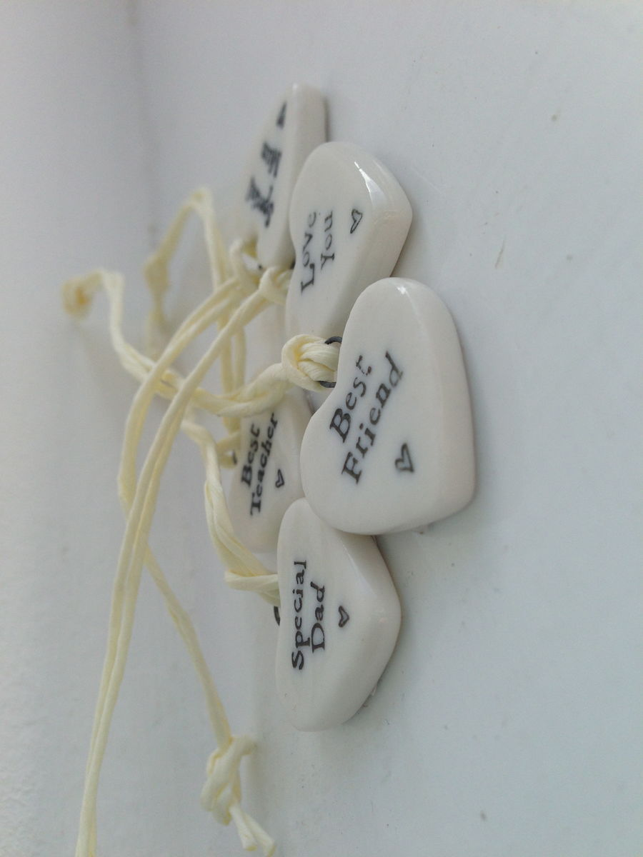 Tiny Porcelain Heart Tokens by East of India - product images  of