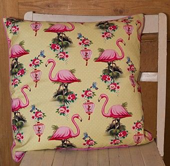 Flamingo,Cotton,Cushion,by,Wu,&,Flamingo Cotton Cushion by Wu & Wu