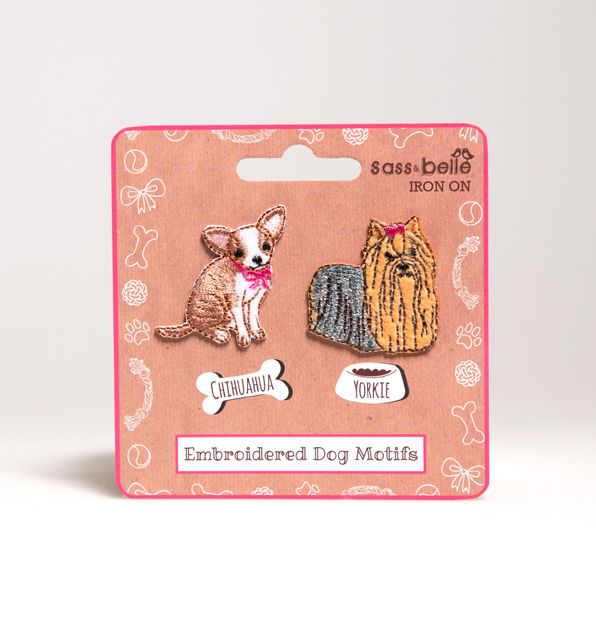 Yorkie and Chihuahua Embrodiered Iron On Patches by Sass and Belle - product image