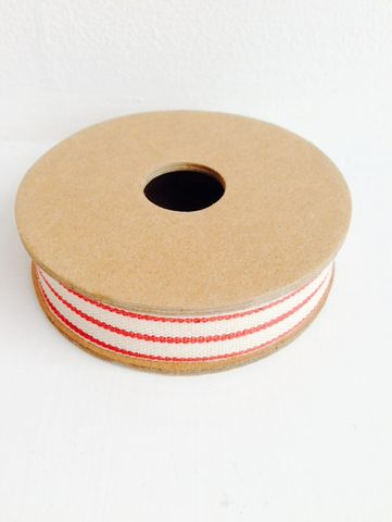 70%,OFF,Cotton,Red,and,Off,White,Triple,Stripe,Ribbon,3,metre,spool,by,East,Of,India,Cotton Red and Off White Triple Stripe Ribbon 3 metre spool by East Of  India