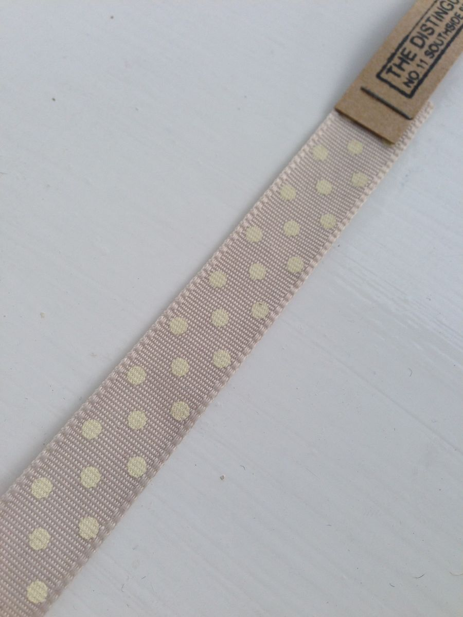 Cotton Grey with White spots Ribbon 1 meter by East Of India - product images  of