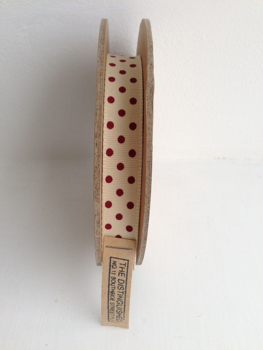 Cotton White with Red spots Ribbon 1 meter by East Of India - product images  of