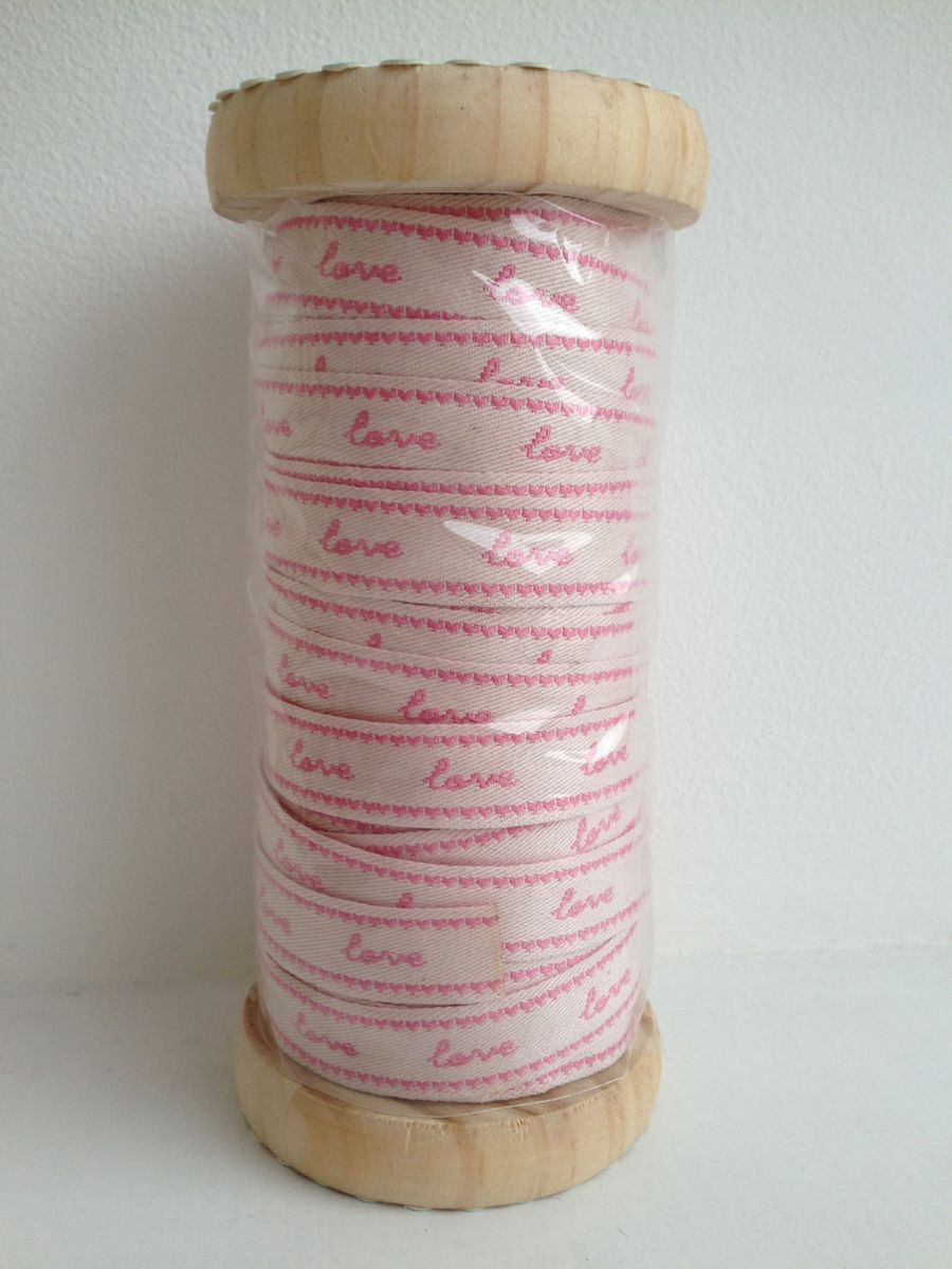 70% OFF Embroidered Pink Love Ribbon 1 meter by Sass & Belle - product images  of