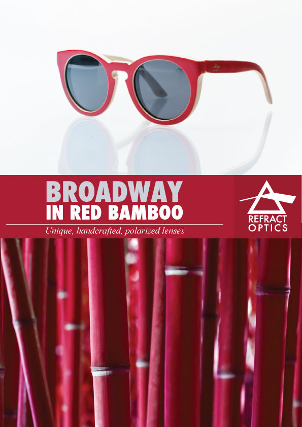 SALE 25% OFF REFRACTOPTICS® BROADWAY: Bamboo WOOD SUNGLASSES - product images  of