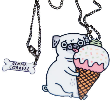 ICE,CREAM,PUG,NECKLACE,BY,GEMMA,CORRELL,ICE CREAM TRUE LOVE PUG NECKLACE BY GEMMA CORRELL
