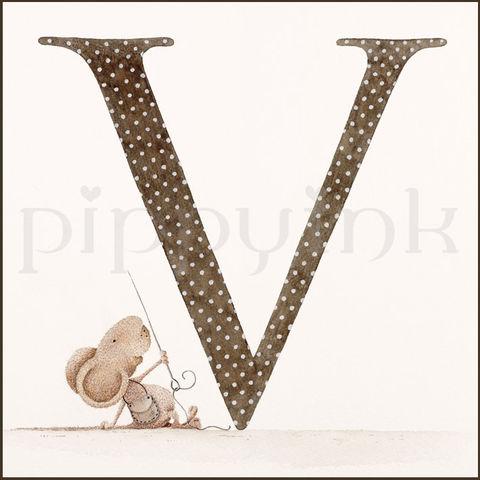 Cute Letter V Letter,v,pippyink, pippy ink,