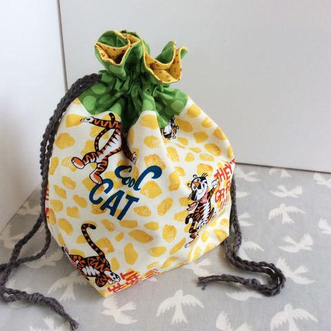 Project,Bag,:,Knitting,Cool,Cat,Green,Project bag, knitting bag