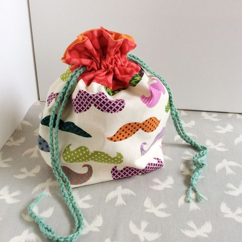 Project,Bag,:,Knitting,Cute,Stache,Pink,Project bag, knitting bag